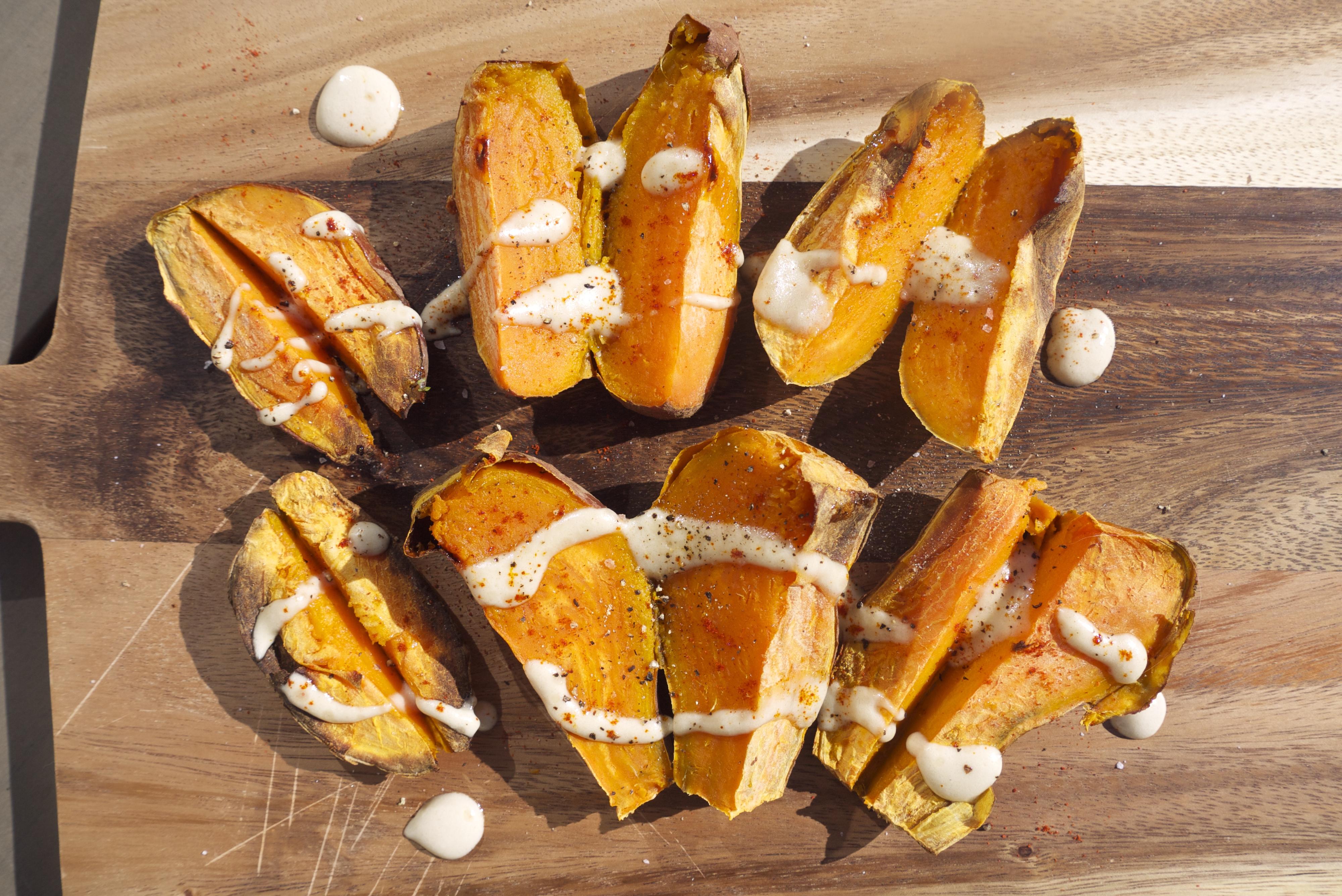 95c9fb3aaf Butterflied Sweet Potato with Tangy Tahini Drizzle - Rosanna Davison ...