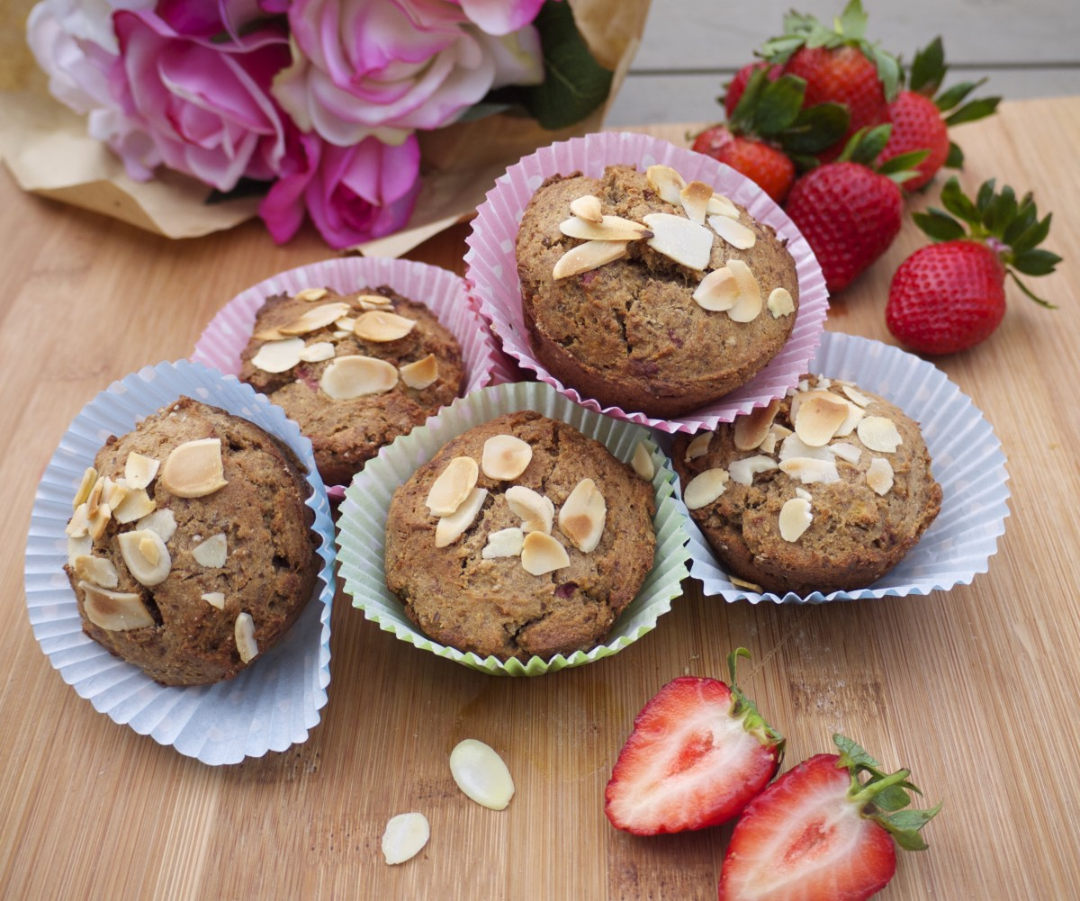 Banana and Strawberry Buckwheat Muffins