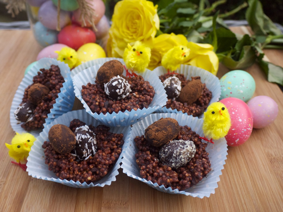 Quinoa Pop Easter Nests with Chocolate Hazelnut Eggs