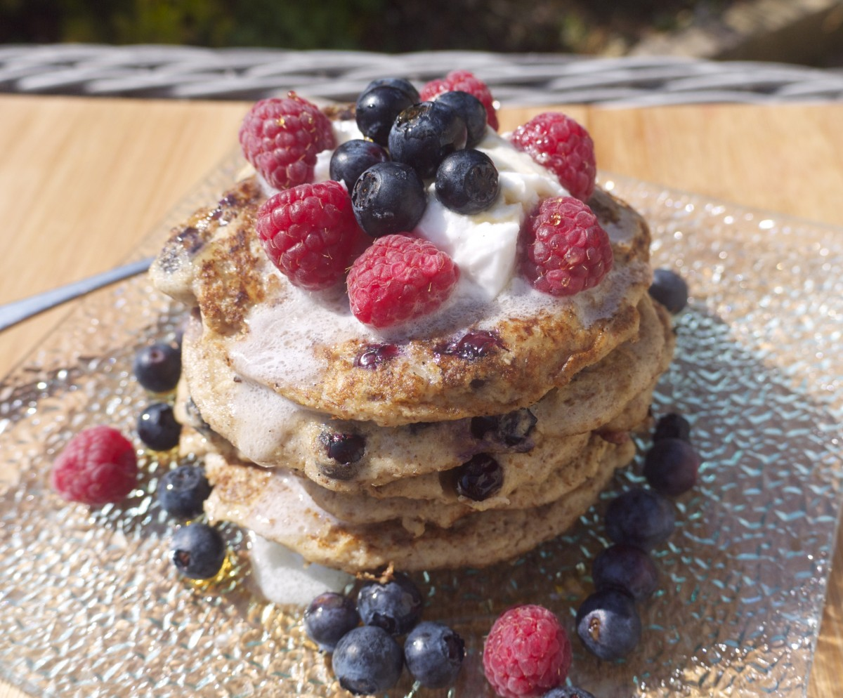 Summer Berry Oatmeal Pancakes