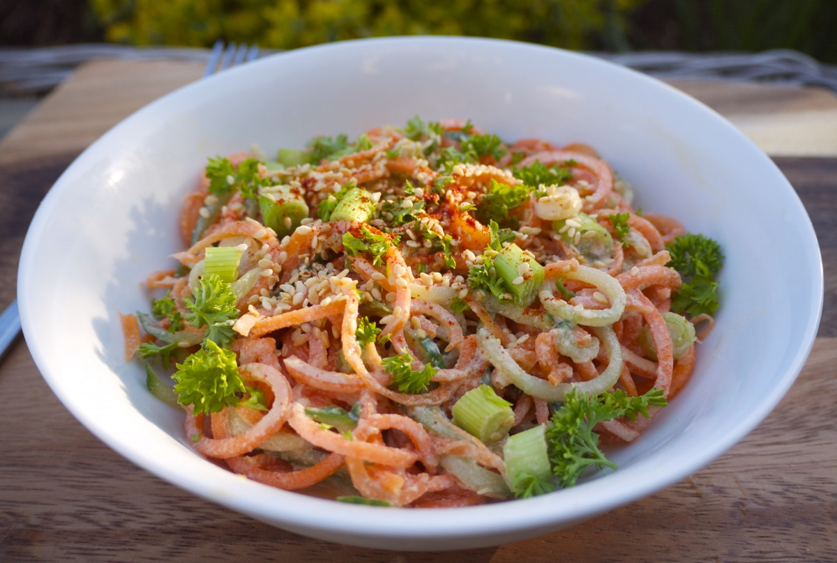Carrot Noodle Salad with Ginger-Miso Dressing