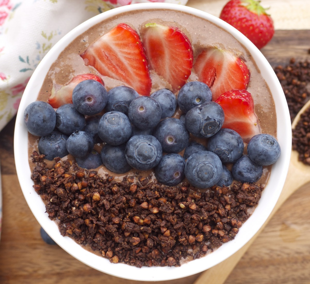 Choco-Chia Smoothie Bowl with Chocolate Buckwheat Granola