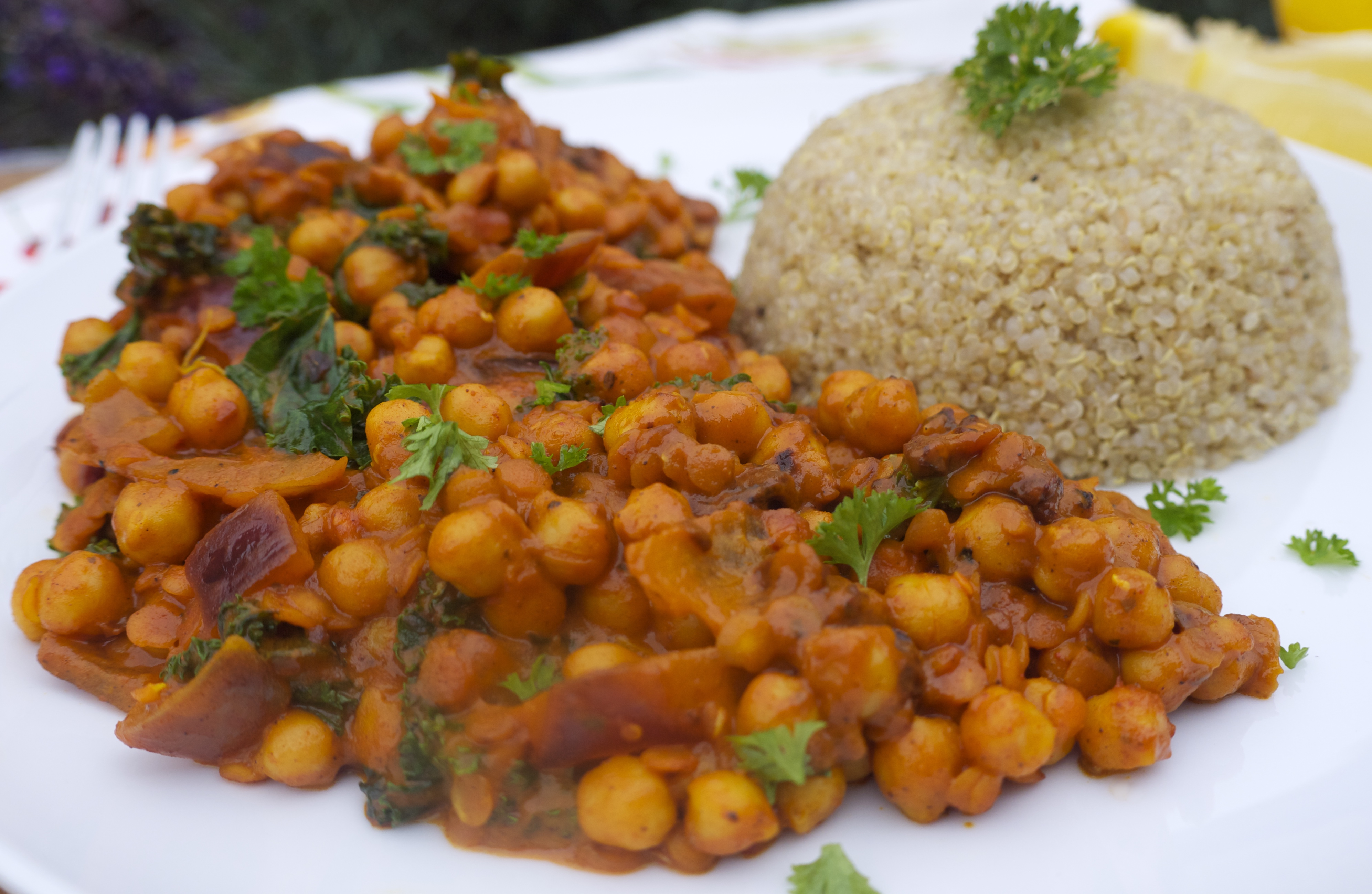 Spicy Tomato Chickpea Split Red Lentil And Kale Curry With Zesty Quinoa