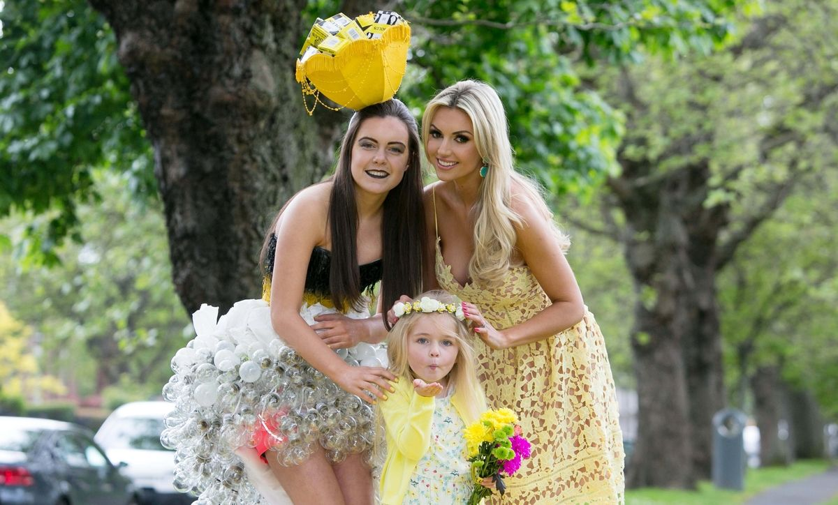***NO FEE PIC *** 23/05/2016 (L to R) Ciara Flaherty (16),Annabelle Smith (6) & Former Miss World Rosanna Davison launch the search for Solus Brightest at Bloom from the yellow carpet at Mespil Road, Dublin. On Sunday June 5th at 2pm at the Solus Garden at Bloom in the Phoenix Park, the Brightest at Bloom will be chosen on the yellow carpet from ten finalists. Solus Brightest at Bloom is a nod to ladies day but all-inclusive, open to ladies, gentlemen, children and all sunny dispositions young … and not so young! It is not just about fashion but more about luminosity, brightness and light. See details on Solus Facebook Page to enter. Photo: Gareth Chaney Collins