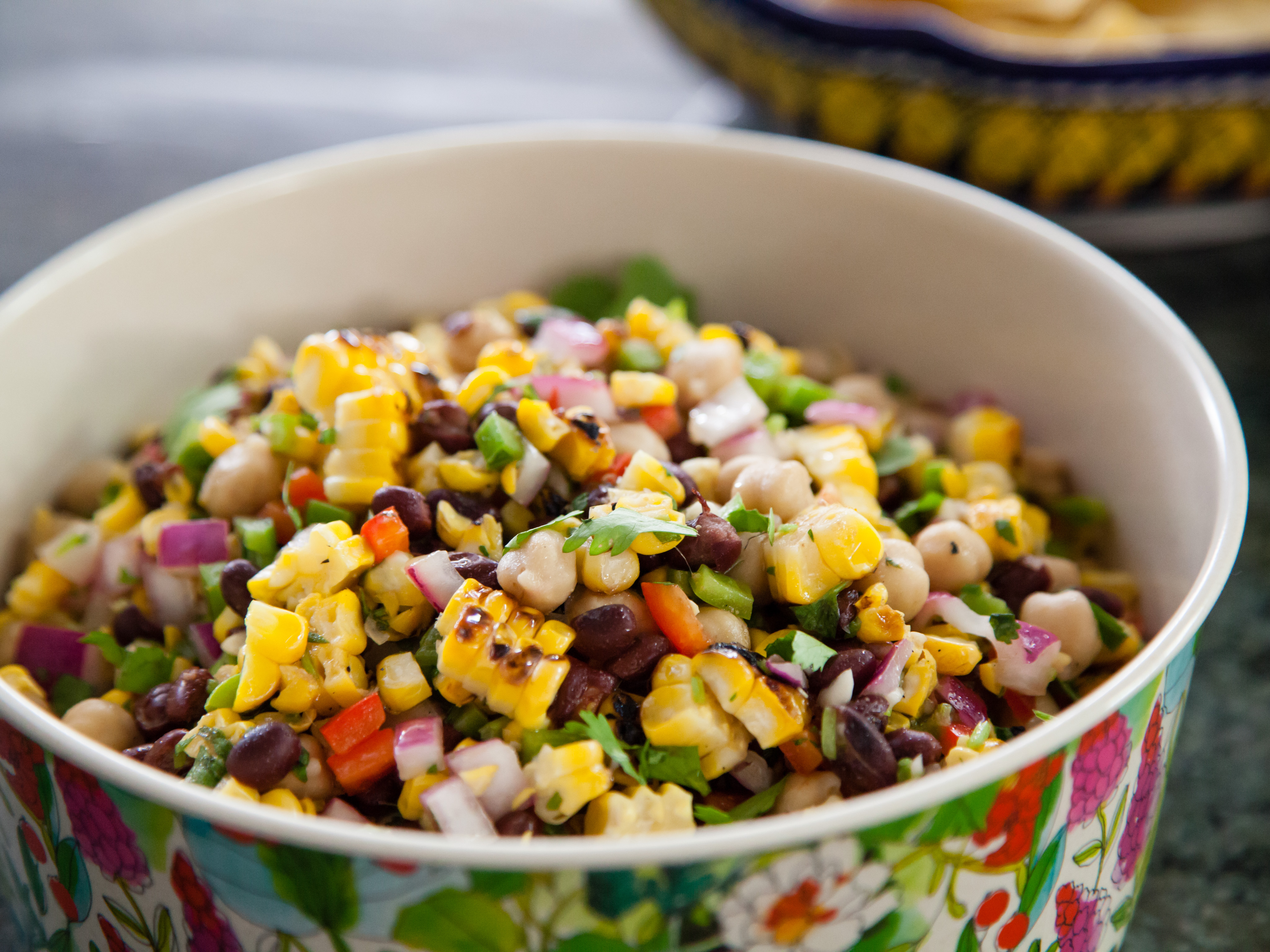 Roasted corn and bean salad, a favorite of host Valerie Bertinelli's stepdaughter, Angela, as prepared on Valerie's Home Cooking.