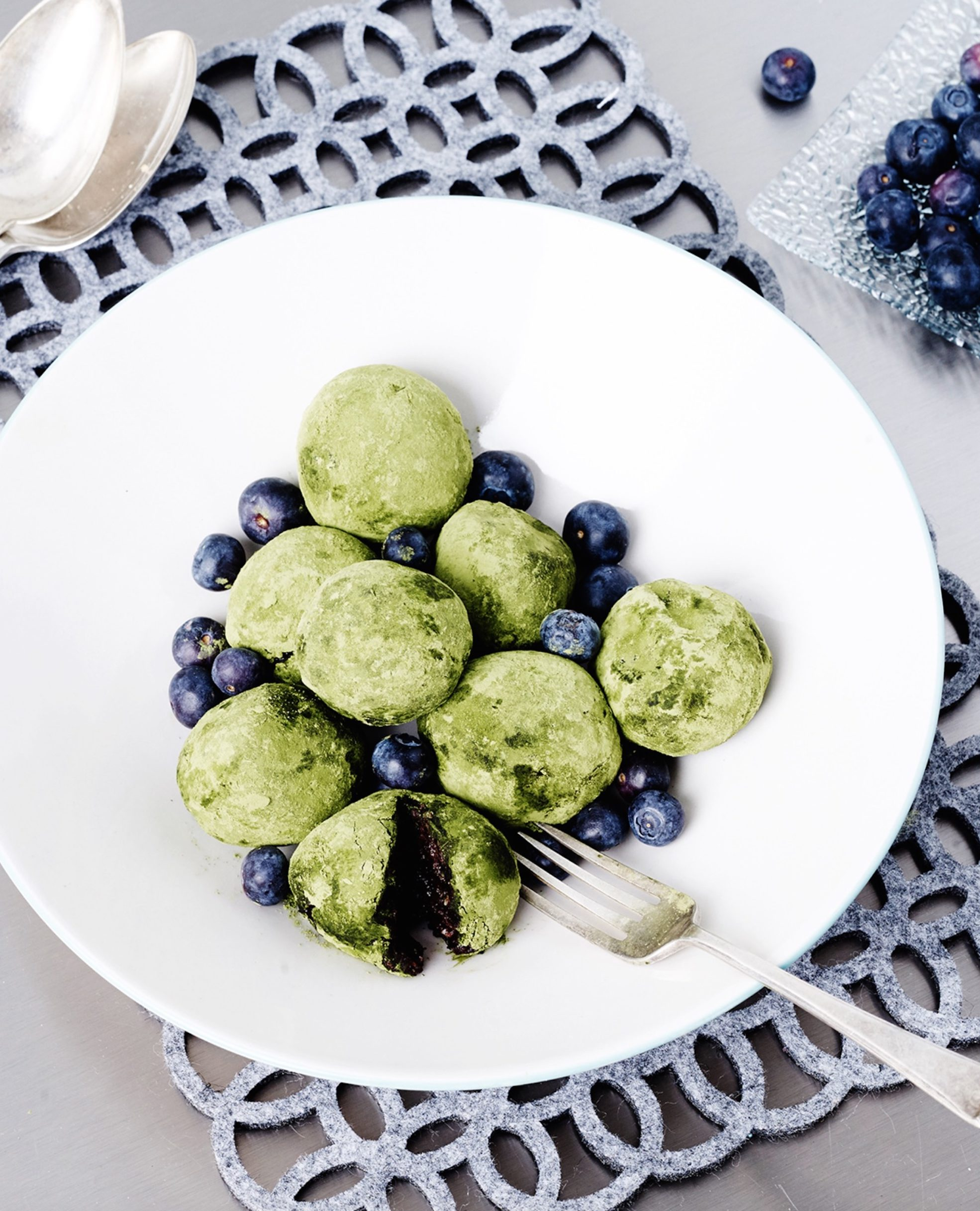 Matcha Blueberry Bombs