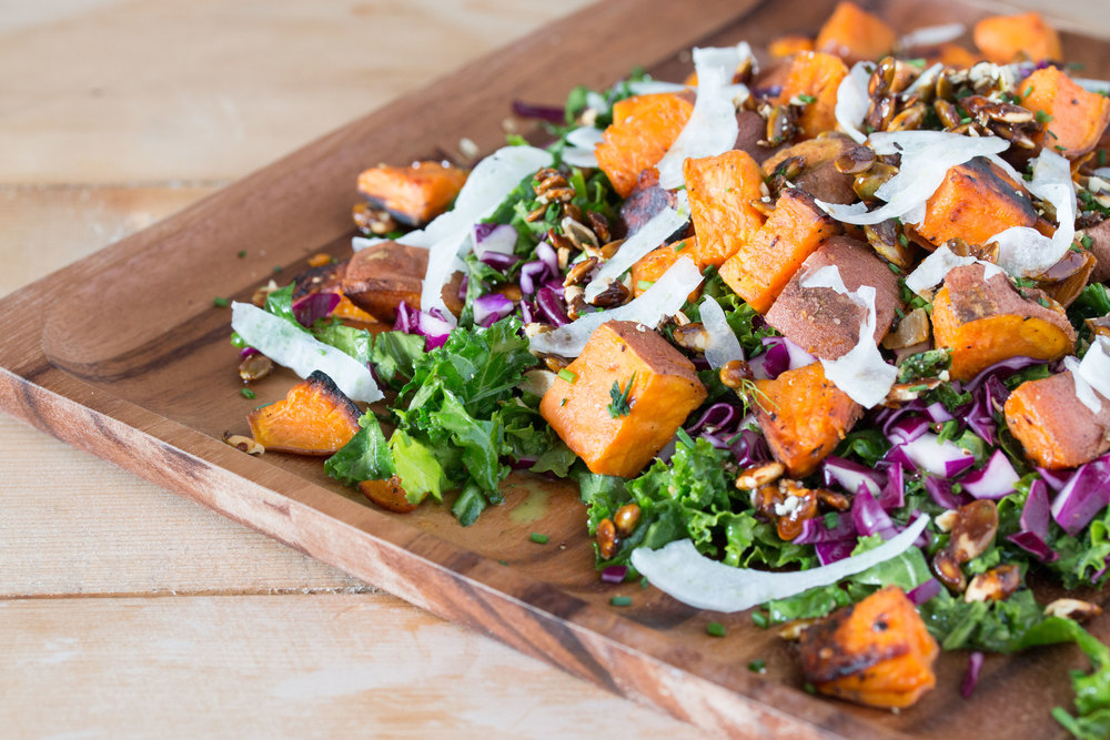 roasted+sweet+potato+kale+salad+with+mustard+dill+vinaigrette+#salads+#veganrecipes+#vegan+|+RECIPE+on+hotforfoodblog.com