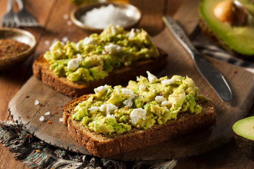 Healthy Homemade Avocado Toast with Salt and Feta
