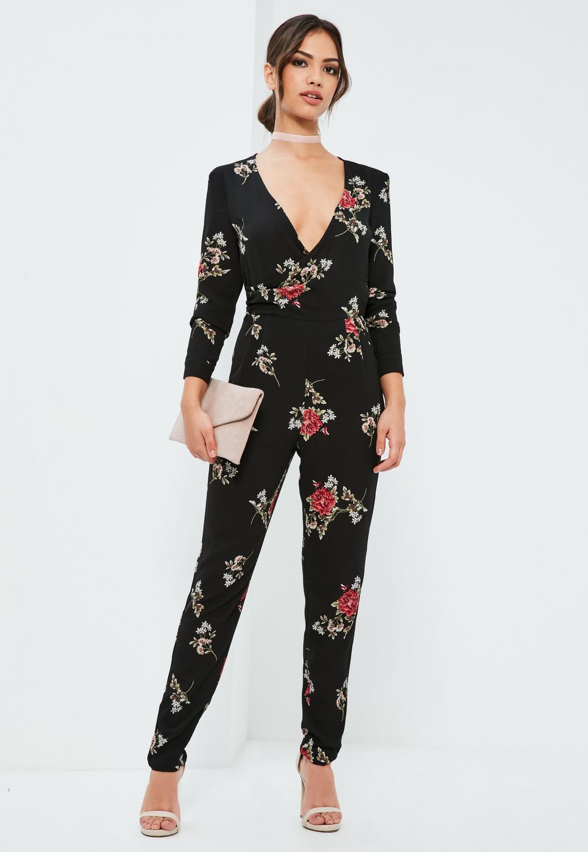 black-floral-wrap-printed-jumpsuit