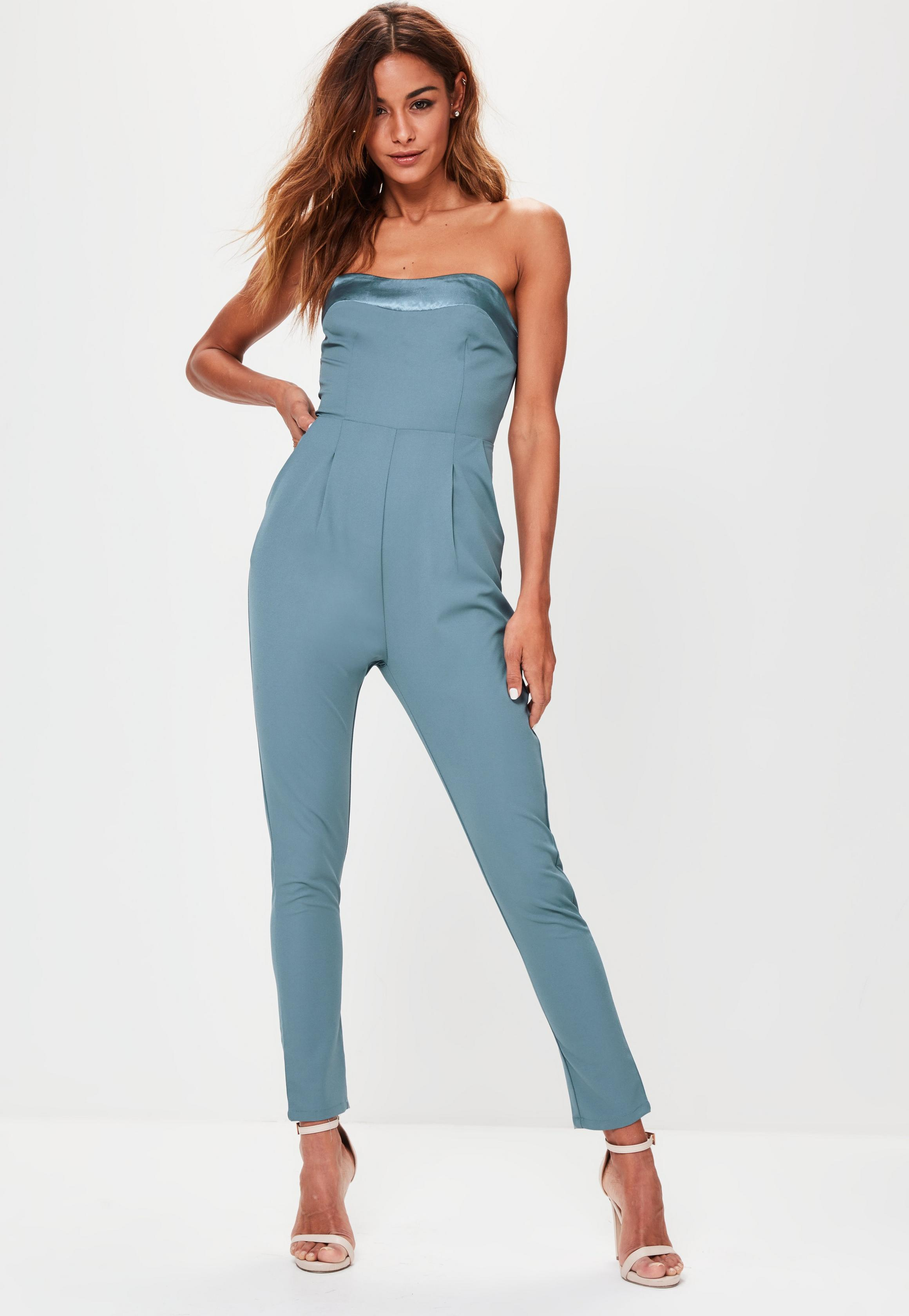 blue-satin-panel-bandeau-jumpsuit