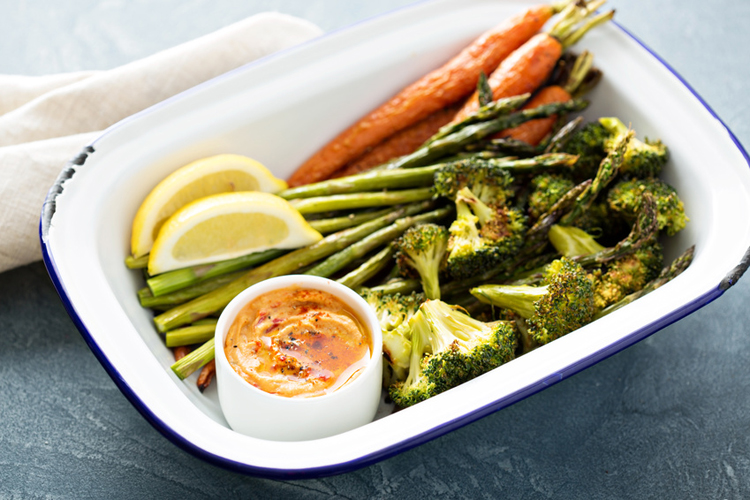 Roasted carrots, asparagus and broccoli with a dip