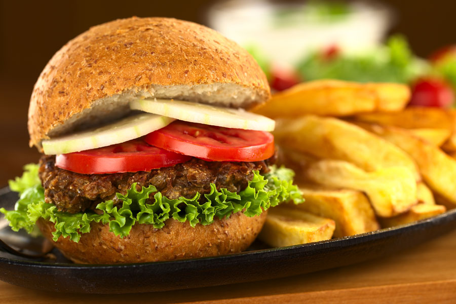 Vegetarian-Burger-and-Chips